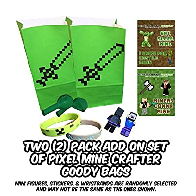 Pixel Party Toys Miner-Themed Party Favor Bags (8-Pack) - Birthday Party Supplies Kit Includes Goody Bags, Stickers, Wristbands, Mini Character Toys, Balloons and One Bonus Pair of Sunglasses from Pixel Party Designs