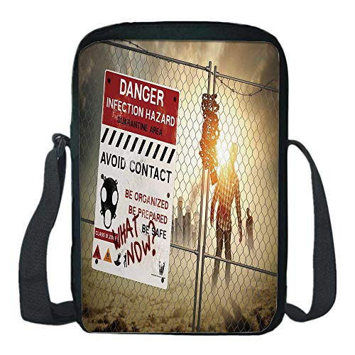Zombie Decor Print Kids Crossbody Messenger Bag,Dead Man Walking Dark Danger Scary Scene Fiction Halloween Infection Picture for Boys,9''H x 6''L x 2''W -