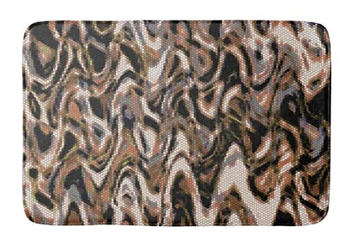 (Aomsnet Brown Cream and Black Abstract Reptilian Bathroom Decor Mat, Shower Rug Mat Water Absorbent Fast Drying Kitchen, Bedroom, Hotel, Spa Tub. 30