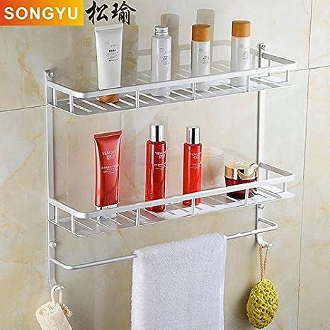 SYDLJ Espacio de racks de baño de aluminio de alta calidad con doble ganchos dobles oblongo bastidores de toallas de baño de 50cm solo orificio redondo: ...