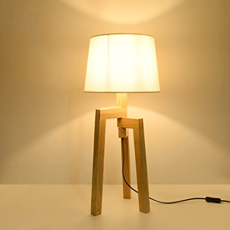 Lámpara de mesa de madera, Lámpara de pie de madera, Sala de ...