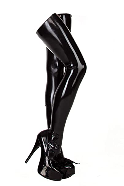 d6345f24c EXLATEX Women s Latex Rubber Thigh High Long Stockings Black  Amazon.ca   Clothing   Accessories