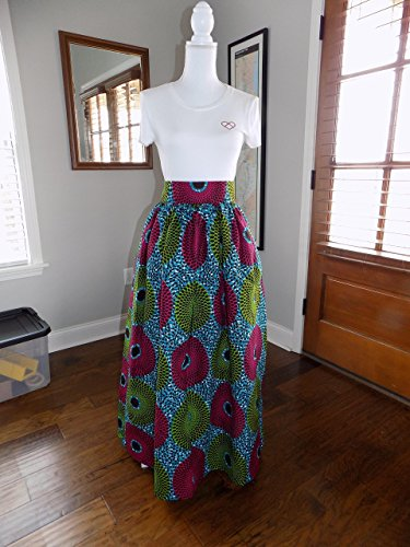 African Print Maxi Skirt with Pocket, Handmade Skirt, Ankara Maxi Skirt, Long Skirt with Pocket, 100 Percent Cotton African Print Fabric, Lined, 42'' Long - 100 Percent Skirt