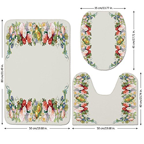 3 Piece Bathroom Mat Set,Victorian Decor,Rose Garland in Pastel Tones Jasmine Cornflower Bouquet Classic Bloom Graphic,Red Yellow Green,Bath Mat,Bathroom Carpet Rug,Non-Slip