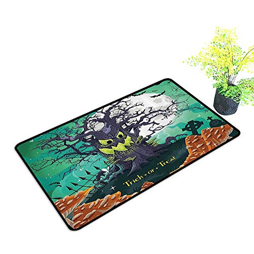gmnalahome Large Door Mats Shoes Scraper Trick or Treat Halloween Theme Dead Forest with Spooky Tree GravesMushrooms Use for Front Door Entrance W23 x H17 -
