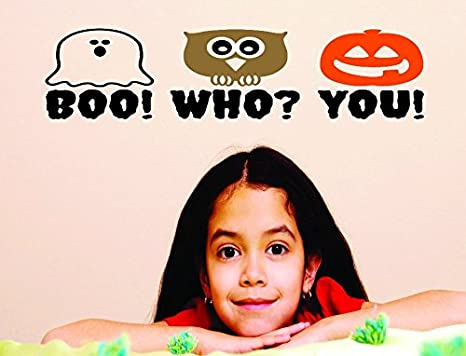 Design with Vinyl RAD 649 2 Halloween Boo Holiday Quote Vinyl Wall Decal 14 x 28 As Seen Who You