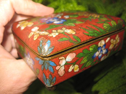 Genuine Hand-Made, Antique Cloisonné Chinese Copper Box, Qing Dynasty(?) ()