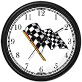 Checker or Checkered Flag - Auto Racing Theme Wall Clock by WatchBuddy Timepieces (Black Frame)