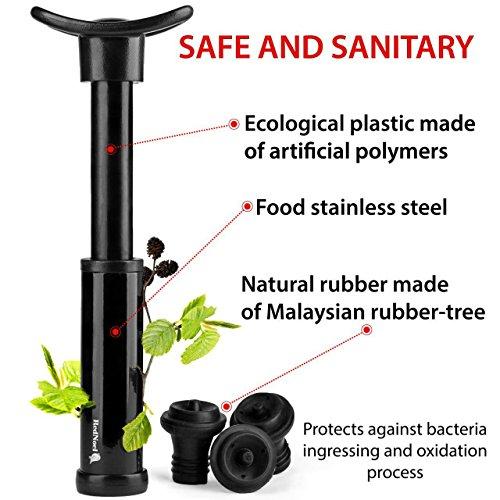 Wine Vacuum Bottle Preserver Saver - for Wine Preservation - Best Wine Sealer Kit - with 3 Vacuum Re-usable Wine Stoppers - Black by RedNoel (Image #5)