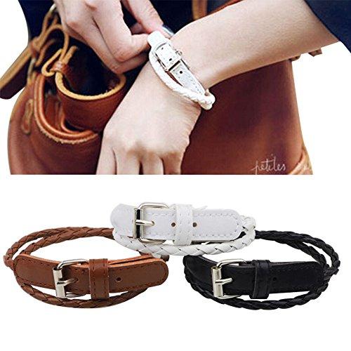 Women's Black Braided Leather Strap Watch - 8