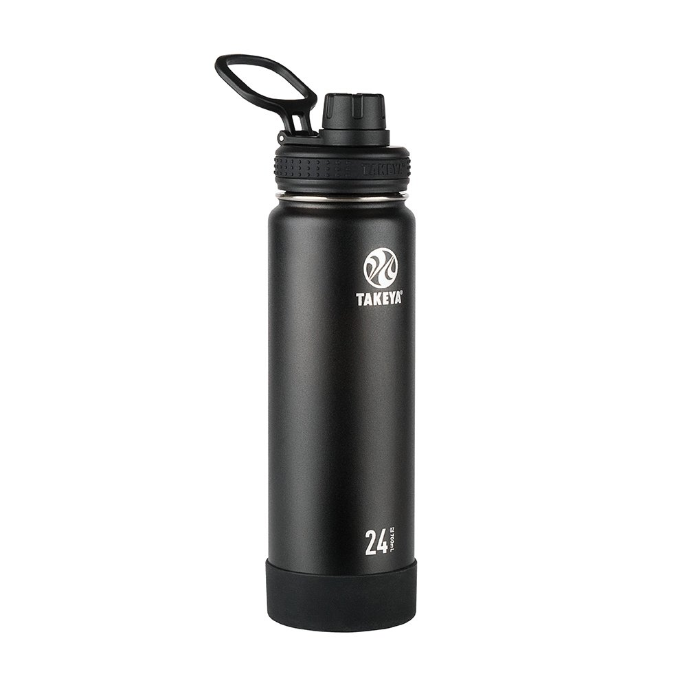 Takeya Actives Insulated Stainless Water Bottle with Insulated Spout Lid, 24oz, Onyx