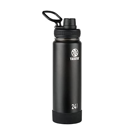 Takeya Actives Insulated Stainless Water Bottle With Insulated Spout Lid, 24oz, Onyx by Takeya
