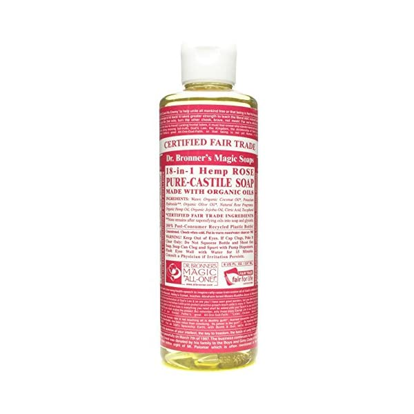 Dr. Bronner's Organic 18-in-1 Hemp Rose Pure-Castile Liquid Soap, 237 ml