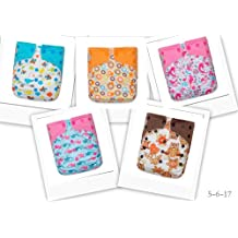 5 Girl One Size Snap Reusuable Cloth Diapers + 10 Large Inserts