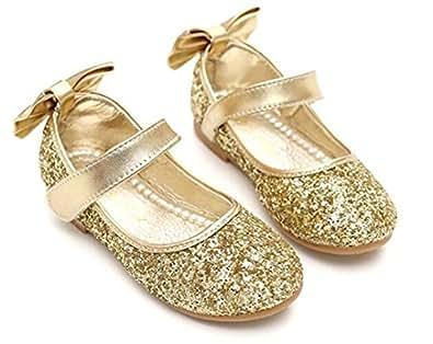 Bumud Girls' Mary Jane Ballerina Flat Shoes 8 M US Toddler Golden