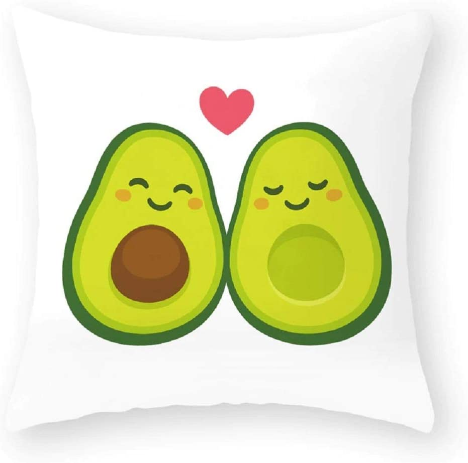 Avocados Cute Love Throw Pillows Covers. Singles or Sets of 2 (Heart Avocados, 1)