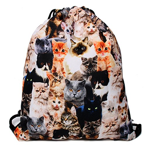 Print Drawstring Backpack Rucksack Shoulder Bags Gym Bag - Animal 14