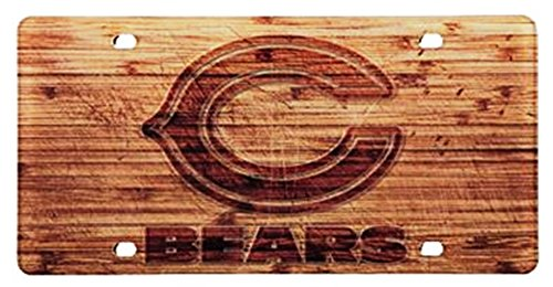 Chicago Bears Woodgrain Design Deluxe Laser Cut Acrylic Inlaid License Plate Tag (Bears License Chicago Laser Plate)