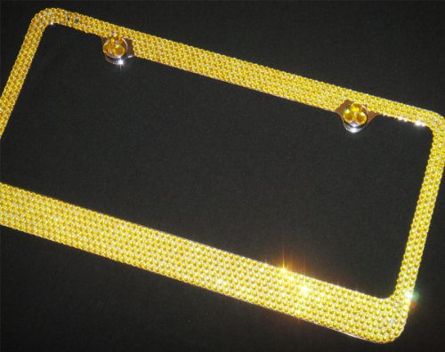 Bling YELLOW Crystal Rhinestone-Metal Chrome License Plate Frame with Two Caps(YELLOW-C Type) ()