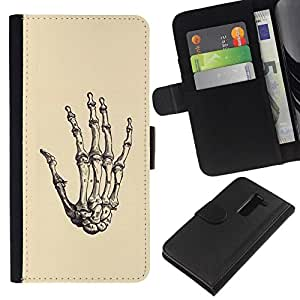 All Phone Most Case / Oferta Especial Cáscara Funda de cuero Monedero Cubierta de proteccion Caso / Wallet Case for LG G2 D800 // Hand Bones Skull Death Metal Yellow