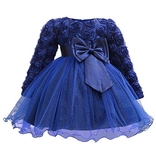 Weddings Formal Wear (Myosotis510 Girls' Lace Princess Wedding Baptism Dress Long Sleeve Formal Party Wear For Toddler Baby Girl (7-12Months, Rose Navy))