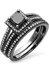 1.35 Carat (ctw) Black Rhodium Plated 14K White Gold Princess & Round Diamond Halo Engagement Ring Set