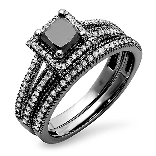 1.35 Carat (ctw) Black Rhodium Plated 14K White Gold Princess & Round Diamond Halo Ring Set (Size (14k Rhodium Plated)