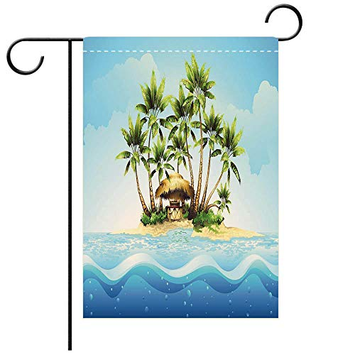 BEICICI Artistically Designed Yard Flags, Double Sided Tropical Bungalow bar on Island in Ocean Best for Party Yard and Home Outdoor Decor