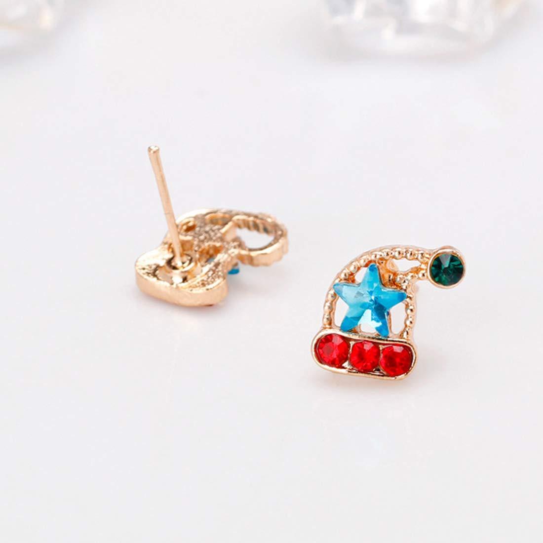 Stocking + Hat Shinelin Christmas Earrings Crystal CZ Enamel Ear Studs for Women Girls Kids Holiday Xmas Festive Gift