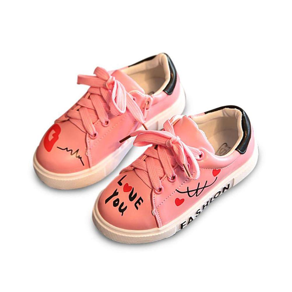 Girls Boys Casual Shoes Sneakers Letters Lace-Up Running Sneakers