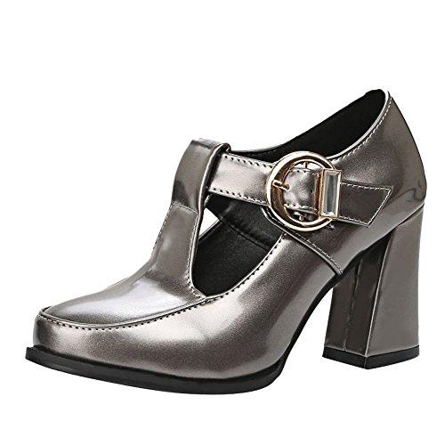 Frauen Block Farbe Schnalle Carolbar Gun Chic Heel High Elegant Stiefeletten aqqUCwZ