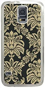 Large-Damask Samsung Galaxy S5 Case with Transparent Skin I9600 Hard Shell Cover