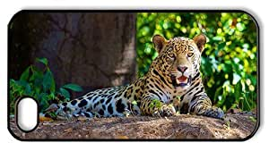 Hipster funny iPhone 4S covers jaguar forest PC Black for Apple iPhone 4/4S