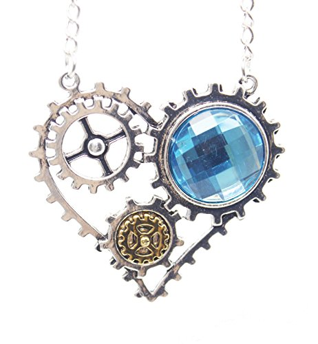 Little World DIY Removable Gear Steampunk Fashion Heart-shaped Pendant Necklace (Blue) 4