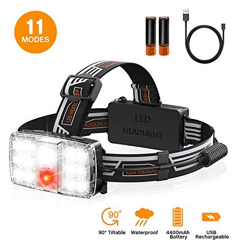 Vproof Led Headlamp Flashlight, 【14 LED】 1000 Lumen Waterproof IPX6 LED Head Lamp, 16-30H Use Time, 18650 USB Rechargeable Led Headlight with 11 Modes & Adjustable Headband, for Running Camping Hiking