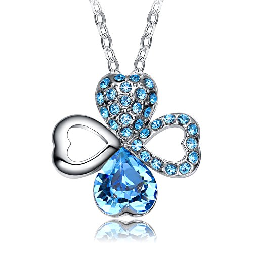 Christmas Gifts for Women NEEMODA Blue Crystal Necklace Heart
