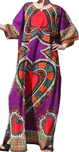 Women's Purple Long Dashiki Dress (RaanPahMuang Brand Full One Piece Long Afrikan Heart Dashiki Sac Dress, Medium, Purple)