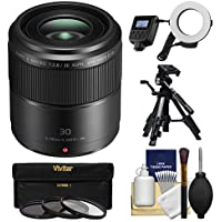 Panasonic Lumix G 30mm f/2.8 MEGA OIS Macro Lens with Macro Ring Light & Tripod + 3 Filters Kit for G6, G7, GF7, GH3, GH4, GM1, GM5, GX7, GX8 Cameras