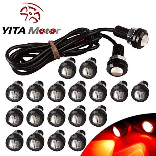 YITAMOTOR 20 X 5730 9W 18mm Eagle Eye LED Car Motor DRL Backup Red Lights bulbs 12V