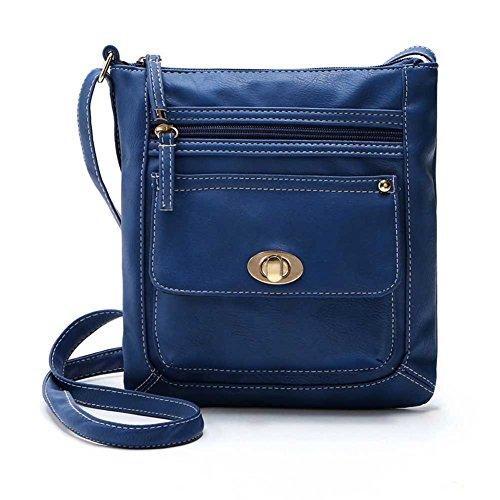 Hrph Nueva Mujeres PU bolsos de moda de la vendimia de hombro bolsas mensajero Azul