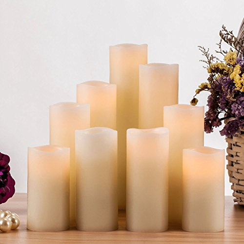 RY King Battery Operated Flameless Candle Set of 9 Real Wax Pillar Decorative Led Fake Candles with Remote Control and…