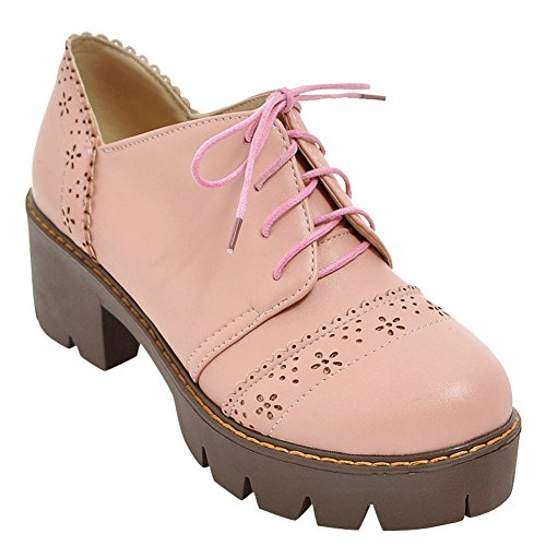 Latina Femmes Mignonne Chunky Talon Lacets Oxford Chaussures Rose