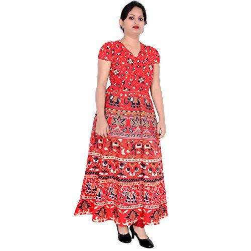 Del Lungo Sttoffa Rajasthan Vestono D6 Donne Rosso Vestito Kurti qwOOBnZFx