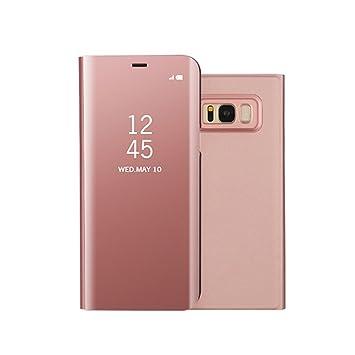 Funda Samsung S8 Clear View Standing Cover, Aursen Carcasa Case para Samsung Galaxy S8, color oro rosa