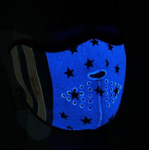 ZANheadgear Neoprene Half Face Mask, Stars and Stripes, Glow in the Dark