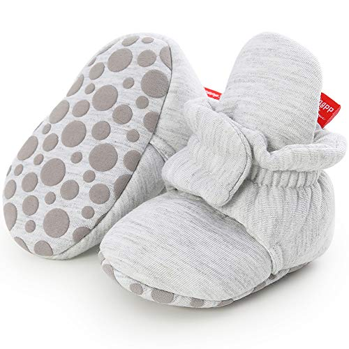 Sawimlgy Newborn Infant Baby Girl Boy Cotton Booties Stay On Sock Slippers Soft Shoes Non-Skid Ankle Boots with Grippers Toddler Crib Winter Shoe First Walker Birthday Shower Gift