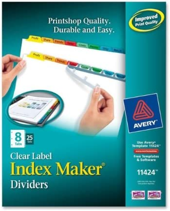 Avery Consumer Products AVE11424 Index Maker- Laser-Inkjet- 8 Tab- 25-Set- Multicolor