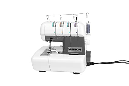 MEDION MD 16600 - Máquina de coser (Máquina de coser automática, Blanco, Overlock