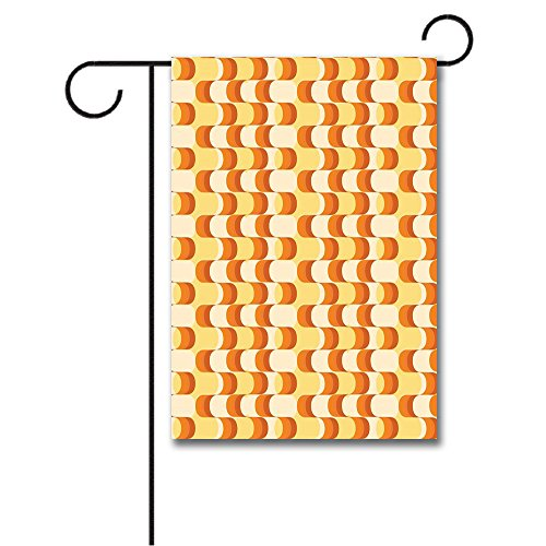 - Wondertify Garden Flags Retro Wavy Half Moon Shapes Vintage in Different Tones Double Sided House Decoration Polyester Garden Flag 18 X 27 Inches