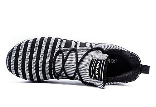 Onemix Menns Stripe Sneaker, Jogging Sko Sort / Hvitt
